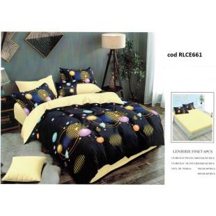 Lenjerie de pat bumbac finet, pentru 2 persoane, cu husa elastica pentru saltea 180x200 cm, 6 piese, Ralex Pucioasa - Daniela