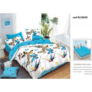 Lenjerie de pat bumbac finet, pentru 2 persoane, cu husa elastica pentru saltea 180x200 cm, 6 piese, Ralex Pucioasa - Keyla