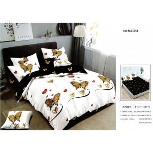 Lenjerie de pat bumbac finet, pentru 2 persoane, cu husa elastica pentru saltea 180x200 cm, 6 piese, Ralex Pucioasa - Monalisa