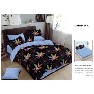 Lenjerie de pat bumbac finet, pentru 2 persoane, cu husa elastica pentru saltea 180x200 cm, 6 piese, Ralex Pucioasa - Nadina