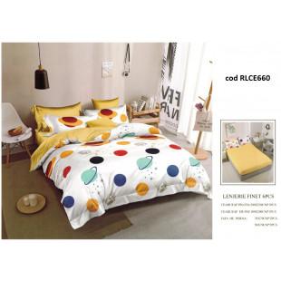 Lenjerie de pat bumbac finet, pentru 2 persoane, cu husa elastica pentru saltea 180x200 cm, 6 piese, Ralex Pucioasa - Planete