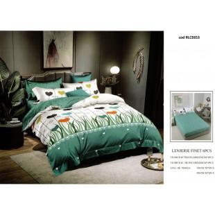 Lenjerie de pat bumbac finet, pentru 2 persoane, cu husa elastica pentru saltea 180x200 cm, 6 piese, Ralex Pucioasa - Raisa