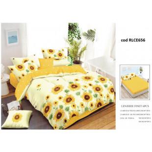 Lenjerie de pat bumbac finet, pentru 2 persoane, cu husa elastica pentru saltea 180x200 cm, 6 piese, Ralex Pucioasa - Sorina
