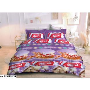 Lenjerie de pat Craciun, din bumbac finet, pentru 2 persoane, cu 4 piese - Oli