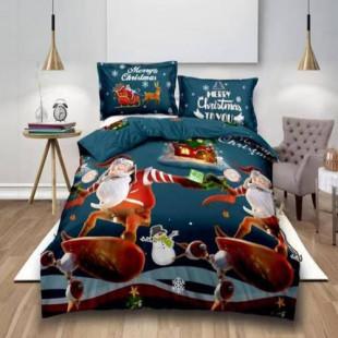 Lenjerie de pat Craciun, pentru 2 persoane cu 4 piese, Ralex Pucioasa - Nina