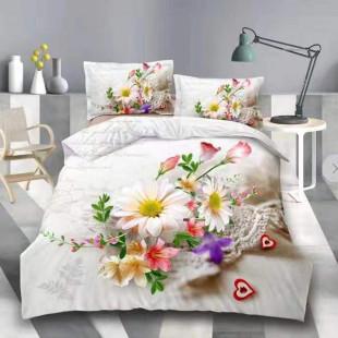 Lenjerie de pat din bumbac, 3D digital print, pentru 2 persoane, 4 piese, Ralex Pucioasa - Alexandra