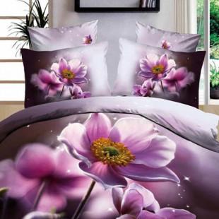 Lenjerie de pat din bumbac, 3D digital print, pentru 2 persoane, 4 piese, Ralex Pucioasa - Iasmina