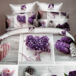 Lenjerie de pat din bumbac, 3D digital print, pentru 2 persoane, 4 piese, Ralex Pucioasa - Iosefina