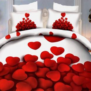 Lenjerie de pat din bumbac, 3D digital print, pentru 2 persoane, 4 piese, Ralex Pucioasa - Jamila