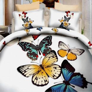 Lenjerie de pat din bumbac, 3D digital print, pentru 2 persoane, 4 piese, Ralex Pucioasa - Gina