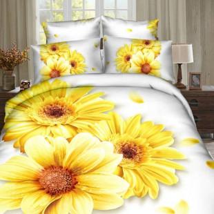 Lenjerie de pat din bumbac, 3D digital print, pentru 2 persoane, 4 piese, Ralex Pucioasa - Lora