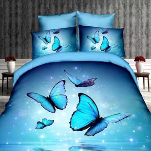 Lenjerie de pat din bumbac, 3D digital print, pentru 2 persoane, 4 piese, Ralex Pucioasa - Nina