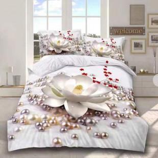 Lenjerie de pat din bumbac, 3D digital print, pentru 2 persoane, 4 piese, Ralex Pucioasa - Zena