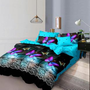 Lenjerie de pat din bumbac, ELVO, pentru 2 persoane, 4 piese, Ralex Pucioasa - Mara