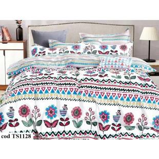 Lenjerie de pat dublu (cearceaf cu elastic 180x200 cm) pentru 2 persoane din bumbac satinat, L'atelier Creatif Pucioasa, cu 4 piese - Fania