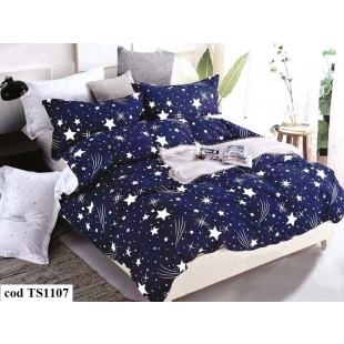 Lenjerie de pat dublu (cearceaf cu elastic 180x200 cm) pentru 2 persoane din bumbac satinat, L'atelier Creatif Pucioasa, cu 4 piese - Lola