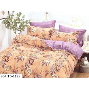 Lenjerie de pat dublu (cearceaf cu elastic 180x200 cm) pentru 2 persoane din bumbac satinat, L'atelier Creatif Pucioasa, cu 4 piese - Sela