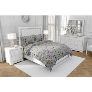 Lenjerie de pat dublu, din bumbac 100% neted, pentru 2 persoane, cu 4 piese Armonia Textil