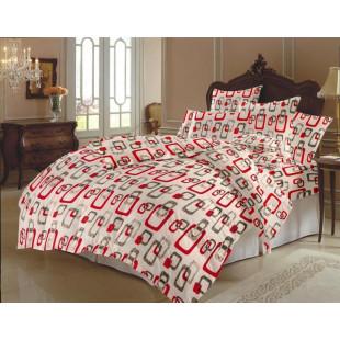 Lenjerie de pat dublu, din bumbac 100% neted, pentru 2 persoane, cu 4 piese Armonia Textil - Fania