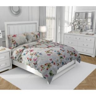 Lenjerie de pat dublu, din bumbac 100% neted, pentru 2 persoane, cu 4 piese Armonia Textil - Felicia