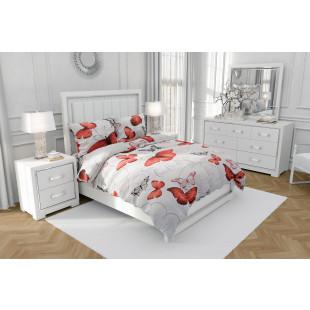 Lenjerie de pat dublu, din bumbac 100% neted, pentru 2 persoane, cu 4 piese Armonia Textil - Geta