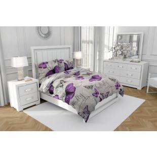 Lenjerie de pat dublu, din bumbac 100% neted, pentru 2 persoane, cu 4 piese Armonia Textil - Gina