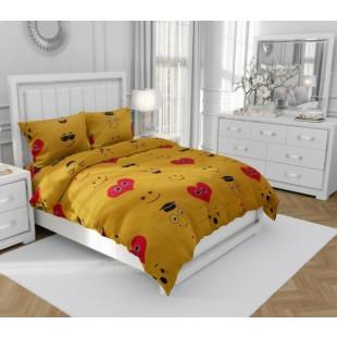 Lenjerie de pat dublu, din bumbac 100% neted, pentru 2 persoane, cu 4 piese Armonia Textil - Hermina