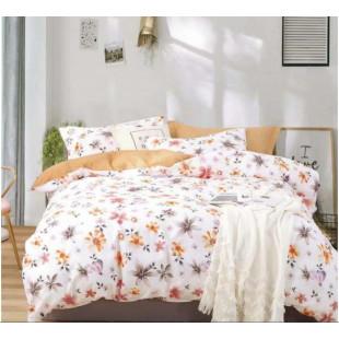Lenjerie de pat dublu pentru 2 persoane, din bumbac 100%, cu 4 piese - Semida