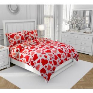 Lenjerie de pat matrimonial, din bumbac 100% neted, pentru 2 persoane, cu 4 piese Armonia Textil - Gina