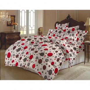 Lenjerie de pat dublu, din bumbac 100% neted, pentru 2 persoane, cu 4 piese Armonia Textil - Giulia