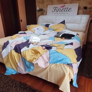 Lenjerie de pat dublu pentru 2 persoane din bumbac finet cu 6 piese - Lisa