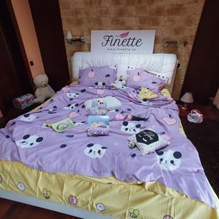 Lenjerie de pat dublu pentru 2 persoane din bumbac finet cu 4 piese - Nina