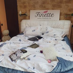 Lenjerie de pat dublu pentru 2 persoane din bumbac finet cu 4 piese - Letisia