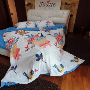 Lenjerie de pat dublu pentru 2 persoane din bumbac finet cu 4 piese