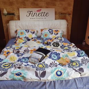 Lenjerie pentru pat dublu, 2 persoane, din bumbac satinat, cu 4 piese - Lea