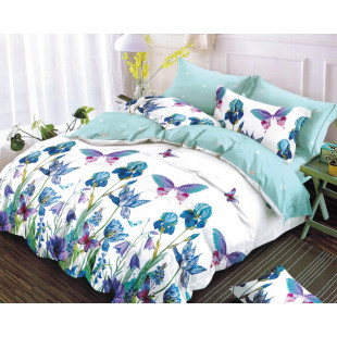 Lenjerie de pat dublu pentru 2 persoane din bumbac finet cu 6 piese - Flora