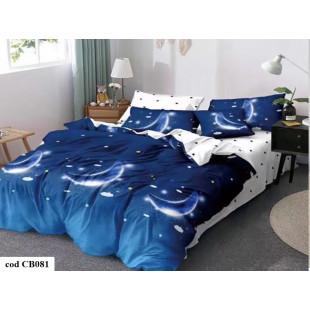 Lenjerie de pat dublu pentru 2 persoane din bumbac finet cu 6 piese - Rebeca