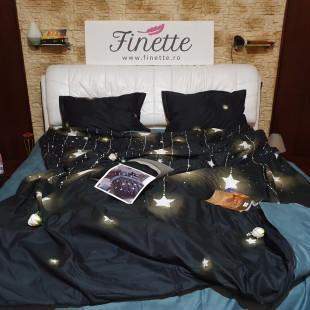 Lenjerie pentru pat dublu, 2 persoane, din bumbac satinat, cu 4 piese - Lorina
