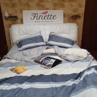 Lenjerie pentru pat dublu, 2 persoane, din bumbac satinat, cu 4 piese - Felicia