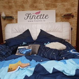 Lenjerie de pat dublu pentru 2 persoane din bumbac satinat, cu 4 piese