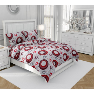 Lenjerie de pat matrimonial, din bumbac 100% neted, pentru 2 persoNina, cu 4 piese Armonia Textil - Nela