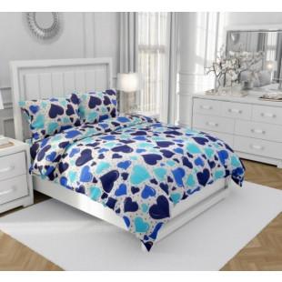 Lenjerie de pat matrimonial, din bumbac 100% neted, pentru 2 persoane, cu 4 piese Armonia Textil - Rosa