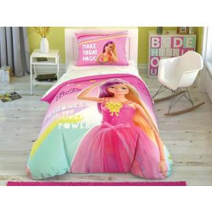 Lenjerie de pat pentru 1 persoana, 3 piese, TAC, din bumbac 100% - Barbie