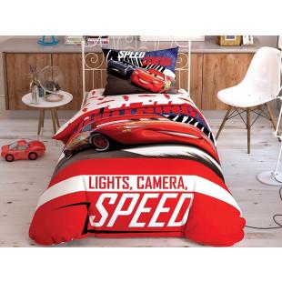 Lenjerie de pat pentru 1 persoana, 3 piese, TAC, din bumbac 100% - Cars
