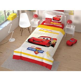 Lenjerie de pat pentru 1 persoana, 3 piese, TAC, din bumbac 100% - Cars cup