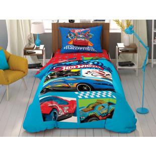 Lenjerie de pat pentru 1 persoana, 3 piese, TAC, din bumbac 100% - Hot wheels