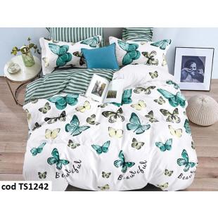 Lenjerie de pat pentru 1 persoana din bumbac satinat, L'atelier Creatif Pucioasa, cu 4 piese (2 fete de perna) - Delia