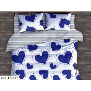 Lenjerie de pat pentru 1 persoana din bumbac satinat, L'atelier Creatif Pucioasa, cu 4 piese (2 fete de perna) - Lety