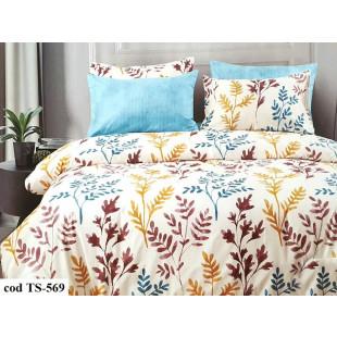 Lenjerie de pat pentru 1 persoana din bumbac satinat, L'atelier Creatif Pucioasa, cu 4 piese (2 fete de perna) - Mika