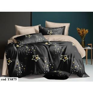 Lenjerie de pat pentru 1 persoana din bumbac satinat, L'atelier Creatif Pucioasa, cu 4 piese (2 fete de perna) - Mikaela